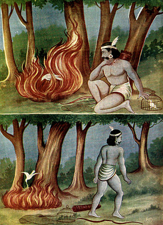 Shanti Parva - The fable of the fowler and the pigeons is recited in Shanti parva.