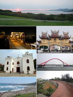 Left:Sunset view of Erluanbi Light House in Kenting National Park, Baisha Port in Lamay Island, Wanchin Immaculate Conception Church, Jialeshui Beach, Right:Donggang Donglong Temple, Jinde Bridge in Donggang River, Hengchun Ancient City Wall (all item from above to bottom)