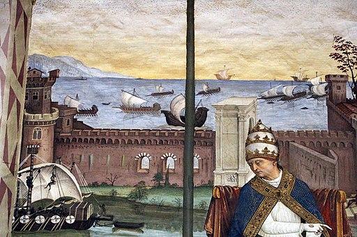 Pinturicchio, liberia piccolomini, 1502-07 circa, Pio II giunge ad Ancona per dare inizio alla crociata 02