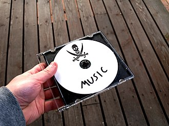 Music piracy - A disc with a pirate symbol on it, a symbol for music piracy