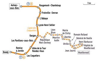 Plan de la ligne actuelle avec celle de la possible extension.