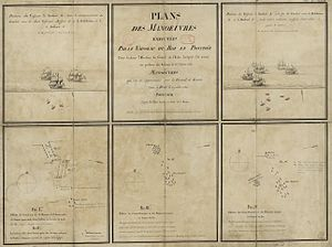 Action of 24 February 1780 - Plan of the movements made by the French ship Prothée to protect its convoy while it is attacked by several English ships off Madeira on 24 February 1780.