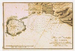 Isla de Las Palomas - Map of 1813 showing Isla de Tarifa with causeway to the mainland