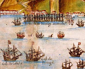 Recapture of Bahia - Detail of a map showing the joint Spanish-Portuguese fleet recapturing Salvador, Bahia in 1625, Atlas of Brazil by João Teixeira Albernaz I (1631)