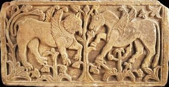 Byzantine Sardinia - Pluteus with Hippogriff and Pegasus. Museo archeologico nazionale (Cagliari)
