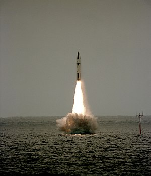 Resolution-class submarine - Polaris missile launch from Revenge in 1983.