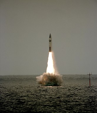 Polaris Sales Agreement - Image: Polaris missile launch from HMS Revenge (S27) 1983
