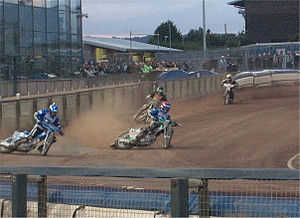 Poole Pirates - The Poole riders lead Coventry during an Elite League meeting in July 2008.