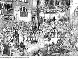 Pope innocent iii preaches the fifth crusade at the fourth lateran council rome 1215 artist unknown 995-103041.jpg