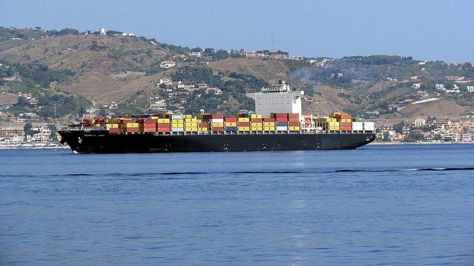 Portacontainer MSC in navigazione nello stretto di Messina