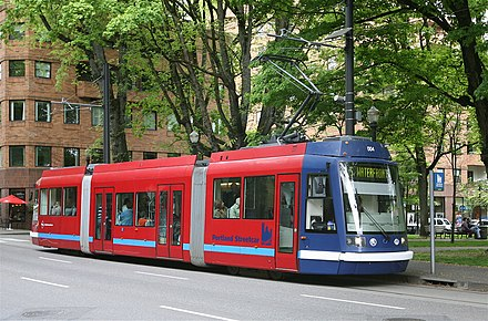 A streetcar at one of the stops serving Portland State University PortlandStreetcar5.jpg