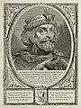 Portret van Floris V, graaf van Holland en Zeeland, met een met veren, edelstenen en parels verfraaide hoofddeksel. De omlijsting is versierd met het wapen van Holland. NL-HlmNHA 1477 53012912.JPG