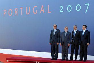 José Sócrates - José Sócrates, Lula da Silva, José Manuel Barroso and Janez Jansa during the EU-Brazil conference in Lisbon 2007