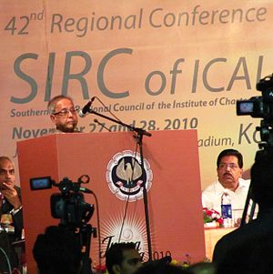 Pranab Mukherjee - Pranab Mukherjee addressing delegates of 42nd Regional Conference of SIRC of Institute of Chartered Accountants of India