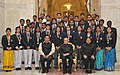 Pranab Mukherjee with the recipients of Indira Gandhi National Service Scheme Awards (2014-2015), at Rashtrapati Bhavan, in New Delhi. The Minister of State for Youth Affairs and Sports (Independent Charge).jpg