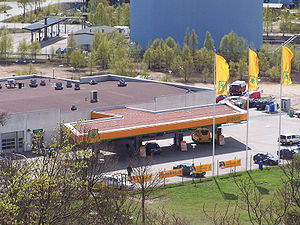 Modern filling station, Preem in Karlskrona, Sweden
