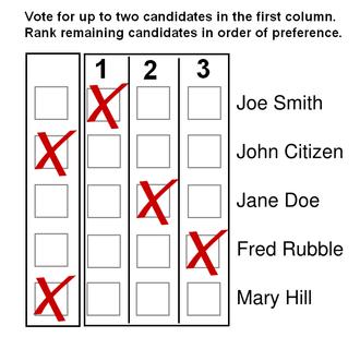 Preferential block voting - Image: Preferential bloc voting ballot 1