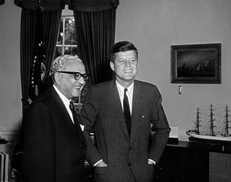 M. C. Chagla - Chagla (left), as Ambassador to the United States, with President John F. Kennedy at the White House, 22 May 1961.
