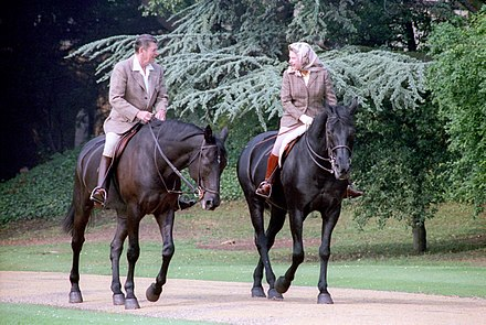 The Queen on Burmese at Windsor in 1982, during a visit by Ronald Reagan, who was lent the 8-year-old gelding[2] Centenial for the occasion[3]