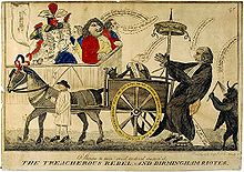 Caricature of a horse pulling a wagon with a man attached and being whipped by a devil. Onlookers jeer.