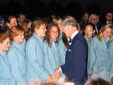 Prince Charles, Prince of Wales, with students of his Australian alma mater, Geelong Grammar School, in Corio, Victoria Prince Charles visiting Geelong Grammar School, Corio, Victoria, Australia.jpg
