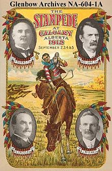 A poster featuring a man riding a bucking horse on an open prairie field. In each corner is a photograph of four different middle-aged well-dressed gentlemen.