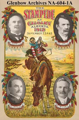 Calgary Stampede - The Program for the 1912 Calgary Stampede featuring the Big Four: Burns, Lane, Cross, and McLean. This poster is part of the Glenbow Archives.