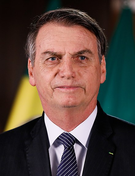 Jair Bolsonaro, the incumbent President of Brazil, known for his conservative stances Pronunciamento do Presidente da Republica, Jair Bolsonaro (cropped).jpg