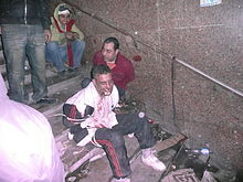Protesters captured around six Mubarak regime loyalists in an ad hoc 'prison' - Flickr - Al Jazeera English.jpg