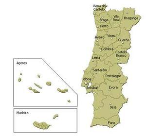 Carte des Districs portugais et Régions autonomes
