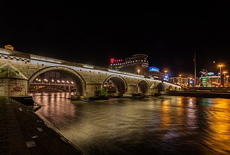 Stone Bridge (Skopje) - Night view of the bridge.