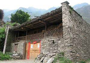 Qiang people - A traditional Qiang house in Baodinggou nature reserve, Maoxian, Sichuan.