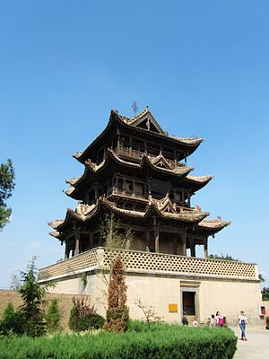 Wanrong County - The Qiufeng Tower in Wanrong Houtu Temple