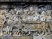 Queen Maya riding horse carriage retreating to Lumbini to give birth to Prince Siddhartha Gautama.