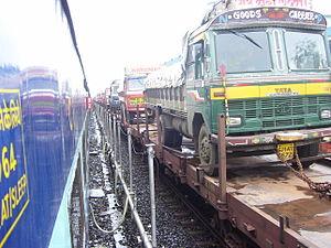 Konkan Railway Corporation - Trucks on train, RORO