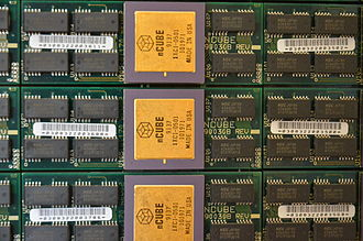 """NCUBE - Three single-chip nCUBE 2 processors on a 1"""" x 3.5"""" module with memory."""