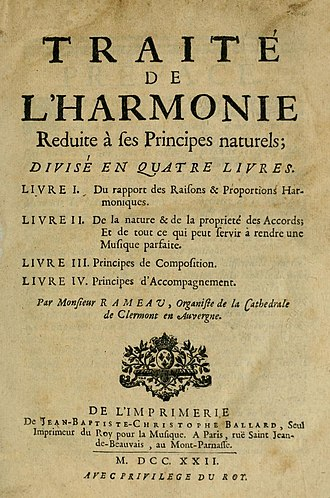 Harmony -  Rameau's 'Traité de l'harmonie' (Treatise on Harmony) from 1722.