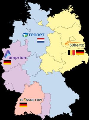 50Hertz Transmission GmbH - Map of transmission system operators in Germany