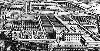 Gisborough Priory - Print from 1709 showing the remains of the priory and how its land was used after the Dissolution. Old Gisborough Hall can be seen in the right foreground.