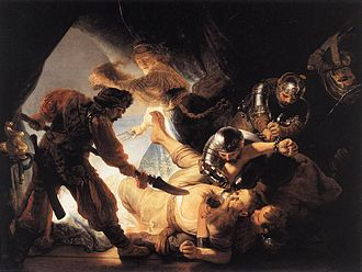 Dutch Golden Age painting - The Blinding of Samson, 1636, which Rembrandt gave to Huyghens