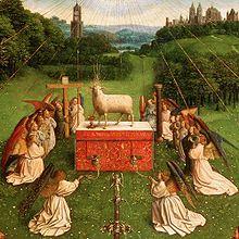 Particolare dell'Adorazione dell'Agnello, di Jan van Eyck