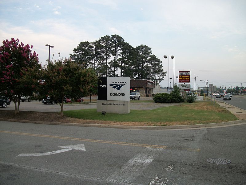 File:Richmond Staples Mills Road Amtrak Sign.JPG Description English: A shot of the sign for the driveway of the Richmond Staples Mill Road (Amtrak station) near Richmond, Virginia. Due to the ticket booth in the driveway before entering the parking lot, I had to park two parking lots away in a shopping center, and walk around in order not to be spotted by a guard or security camera in the booth. DateTaken on 22 June 2010; 24 June 2010 (upload date) SourceOwn work AuthorDanTD