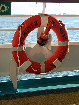 Lifebuoy - Ring buoy with a light on a cruise ship