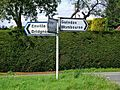 Road signpost at junction of minor roads to Enville, Swindon (Staffs) and Kinver - geograph.org.uk - 938792.jpg