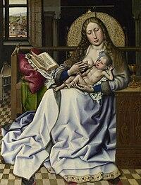 Robert Campin - The Virgin and Child before a Firescreen (National Gallery London).jpg