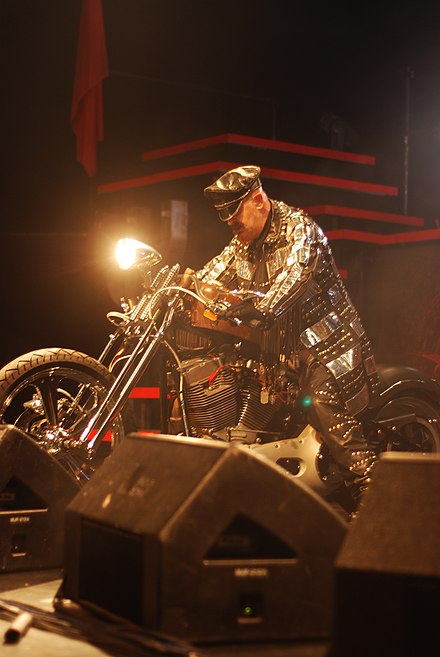 Halford often rides a motorcycle onstage. Robhalford03.jpg