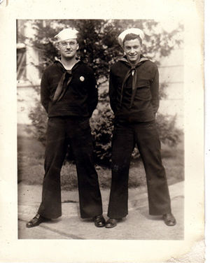 Hugo Montenegro - Newport Navy Band director Frank Rodowicz (left) and Hugo Montenegro at Newport Naval Station, 1944