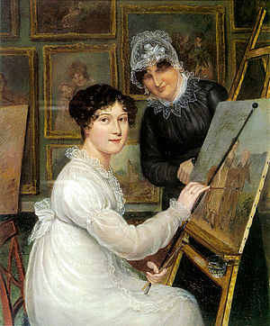Ellen Sharples - Self-portrait by Rolinda Sharples, with her mother, Ellen, in the background. On permanent display at Bristol Museum and Art Gallery.