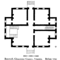 Rosewell Plantation plan showing a stair hall expanded to one side.png