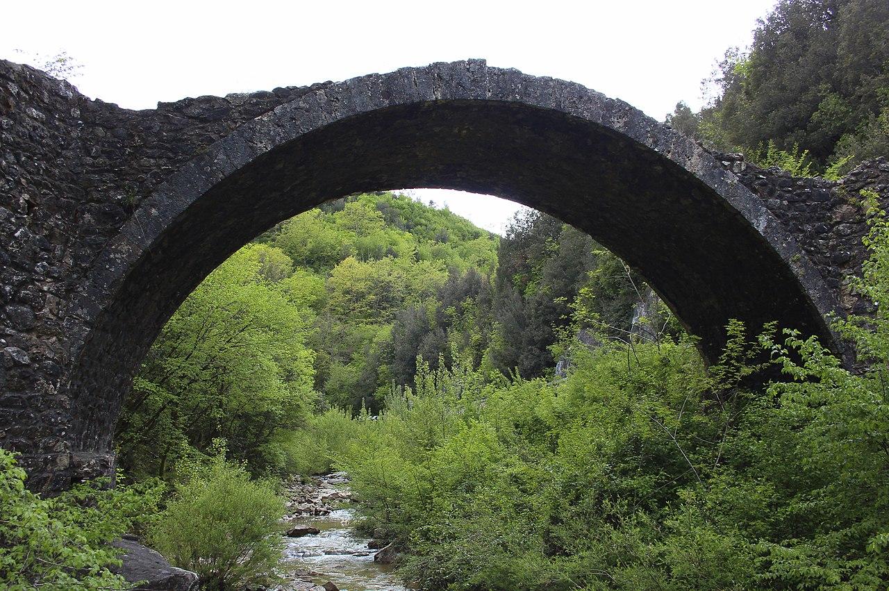 Bridge Ponte della Pia seen from the East, near Rosia, hamlet of Sovicille, Province of Siena, Tuscany